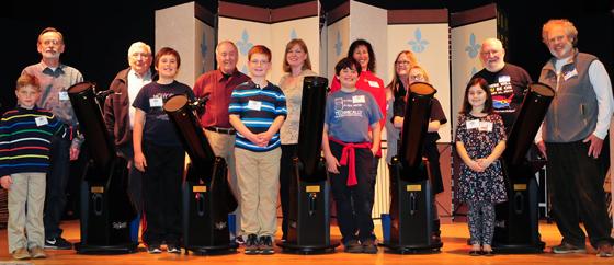 Previous Striking Sparks telescope winners, sponsors, mentors and teachers. Photo by Len Nelson.